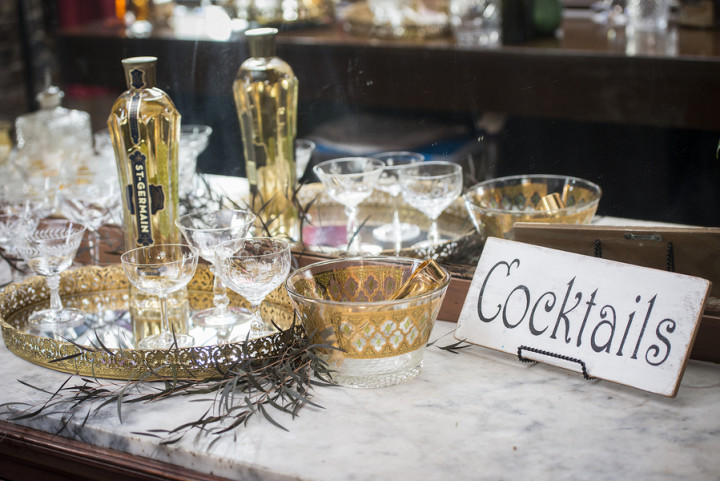 Antique etched and gold glassware from Vintage Ambiance