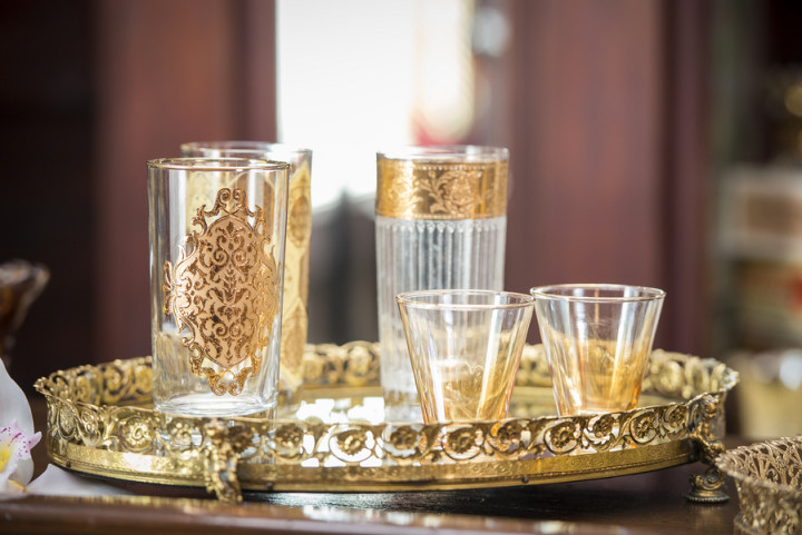 Vintage gold glassware from Vintage Ambiance