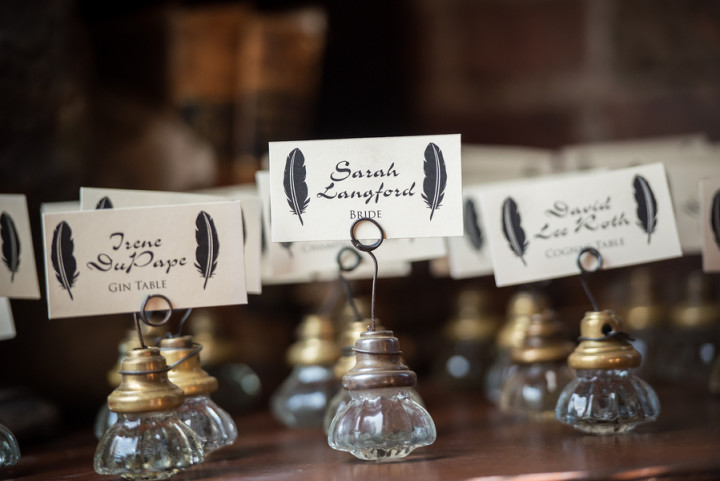 Vintage glass doorknobs hold escort cards from Vintage Ambiance